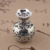 Deer Wang Yinshi purse Pendant S925 sterling silver wholesale silver antique style hollow open Pendant