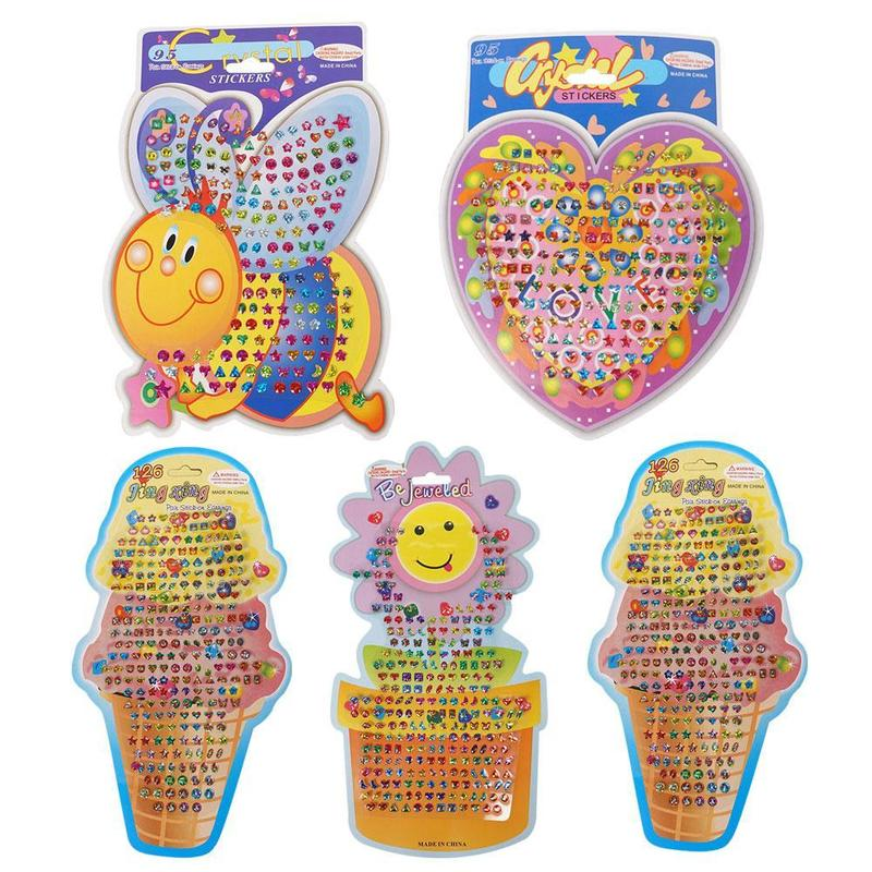 2pcs Random Factory Direct Sales Three-dimensional Children's Face Stickers Sun Flower Crystal Paste Beauty Word Doll Toys