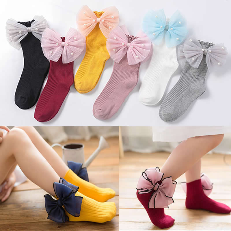 Girls Organza Butterfly Children Socks Short New Cotton Pearl Bow Toddler Girls Tube Socks Princess Sock