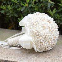 Pack with Box Luxury New Cream Artificial Pearls Wedding Bouquets 2017 Romantic Bridal Flowers Wedding Decorations bruidsboeket
