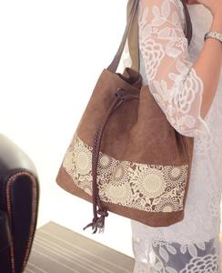 Image 2 - Borsa a tracolla da donna la nuova borsa di tela in stile nazionale e la borsa stampata retrò sono indossate dal dipartimento femminile Sen