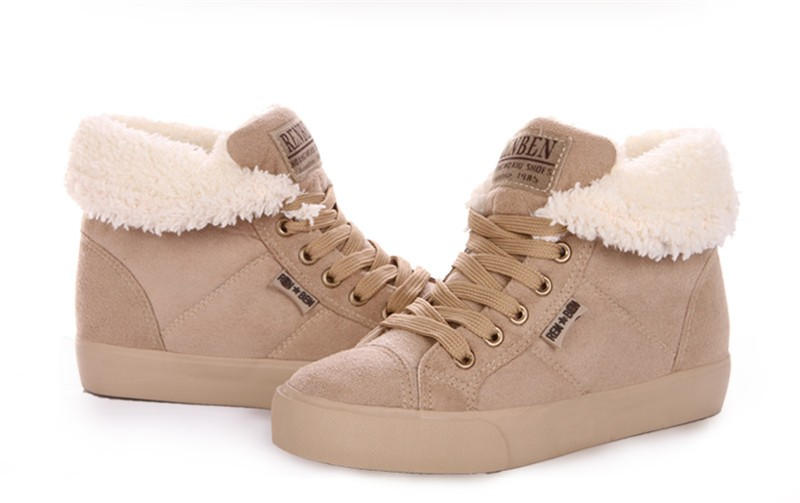 New Women Winter Faux Suede Leather Warm Plush Ankle Boots Autumn Women Shoes Fur Snow Boots Comfortable Running Shoes Sneakers 47