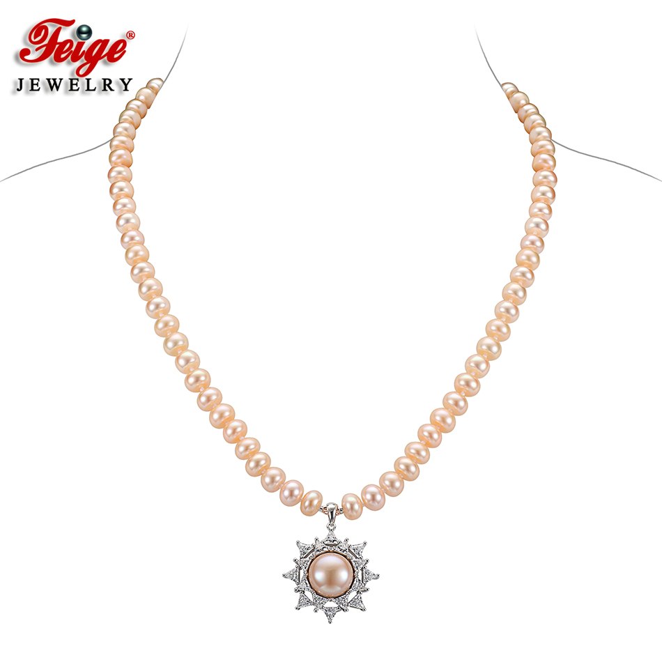FEIGE Luxury Pink Pearl Pendant Choker Necklaces Real 925 Sterling Silver Inlay Cubic Zirconia for Women Handmade Pearl Jewelry new diy ie801 earphone super bass headset 3 5mm in ear hifi stereo earbuds metal earphones for iphone samsung phone earphones