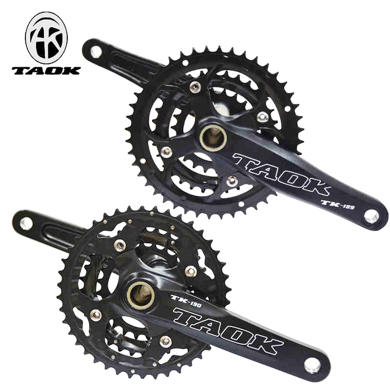Mountain bicycle+central+axis aluminum alloy mtb crankset bike crankset 9S 10 speed crank fluted disc 170mm west biking bike chain wheel 39 53t bicycle crank 170 175mm fit speed 9 mtb road bike cycling bicycle crank