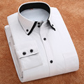 Autumn and winter solid warm shirt male Korean Slim double collar business casual white shirt men Slim