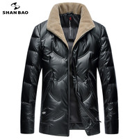 SHNABAO brand luxury high quality white duck down fluffy thick warm down jacket 2019 winter men's casual wool collar down jacket