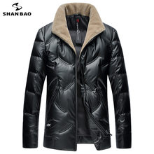 SHNABAO brand luxury high quality white duck down fluffy thick warm down jacket 2019 winter men's casual wool collar down jacket(China)