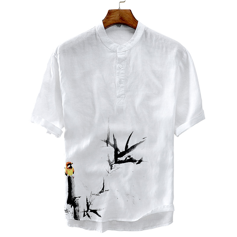 Italy Suehaiwes brand short sleeve summer men shirt linen casual fashion white shirt mens Chinese printing shirts chemise homme