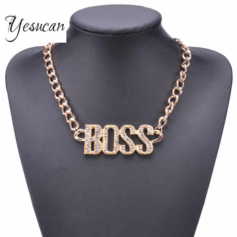 Yesucan Man Hip Hop Jewelry Exaggerated Retro Punk Crystal Clavicle Necklace  BOSS Letter Pendant Necklace Big 3419649e0f16