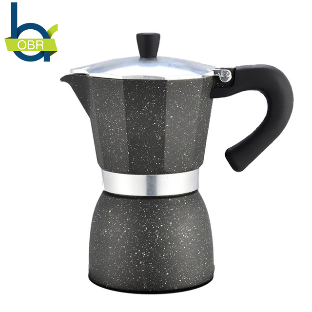 Obr 240ml Aluminum Multifunction Coffee Mocha Pot Stovetop Black Maker Drinkware Tool