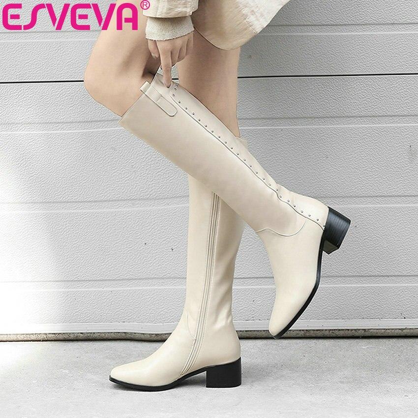 ESVEVA 2020 czarne buty damskie plac Toe kolana wysokie buty plac Med obcasy krótkie pluszowe zamek jesień buty dla kobiet rozmiar 34 40 w Kozaki do kolan od Buty na  Grupa 1