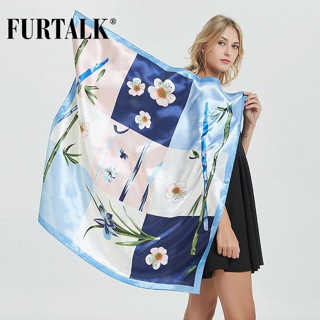 FURTALK 90*90cm Luxury Brand Women Silk Satin Scarf Female European Style Print Square Scarves Summer Shawls For Ladies AD062