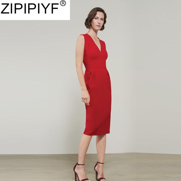 Genou Manches V Robe Col Nouvelle longueur Q329 Pour Les Printemps américain Empire 2019 rouge Beige noir Robes Sans Europe Femmes Sexy Arrivée qZvpOnSw