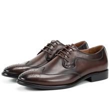 QYFCIOUFU New Brand Genuine Leather Business Dress Shoe Men Retro Luxury Italian Brand Oxford Shoes For Men Classic Brogue Shoes