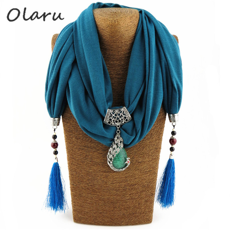 SALE Olaru Bohemia Vintage Peacock Stone Scarf Choker Necklace Woman Hot Necklaces & pendants Wholesale Accessories New