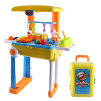 Kids Kitchen Set Children Kitchen Toys Large Kitchen Cooking Simulation Model Educational Toy for Baby with Luggage Organizer