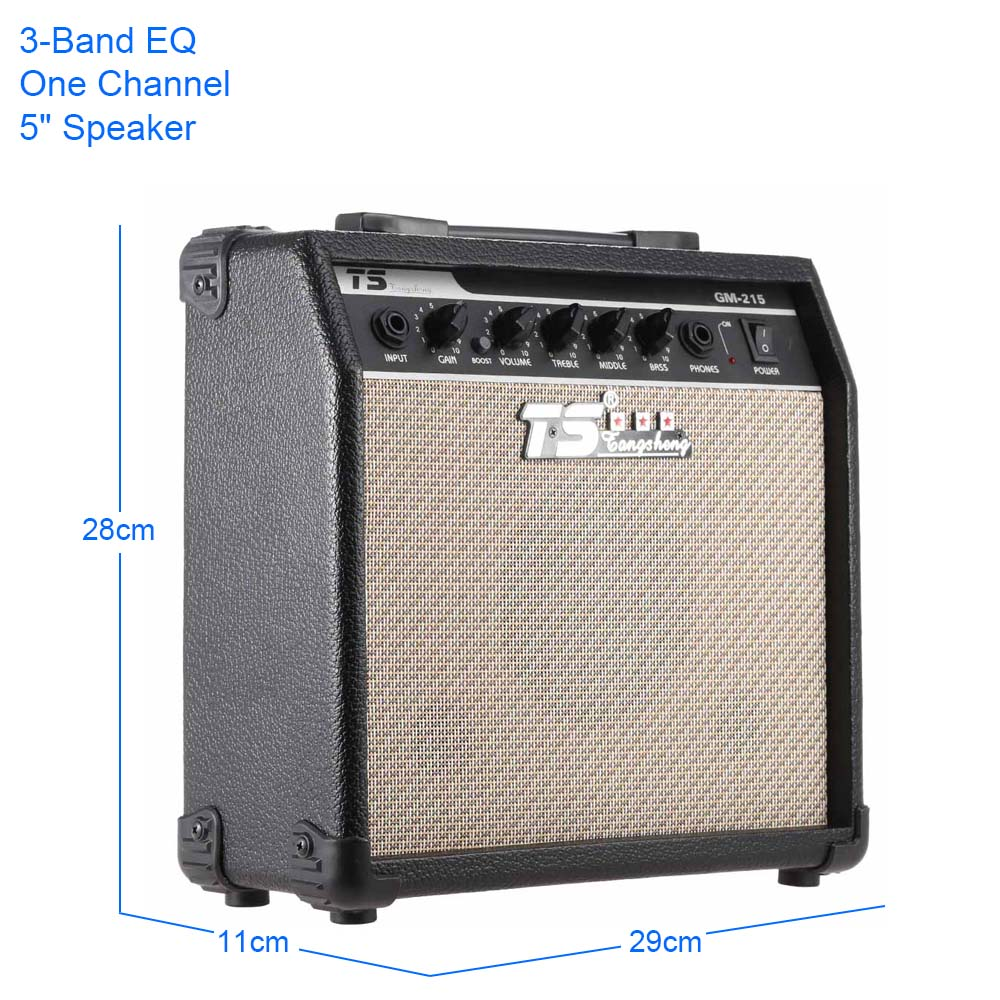 GM-215 professionnel 15W guitare électrique amplificateur Amp distorsion avec 3 bandes EQ 5