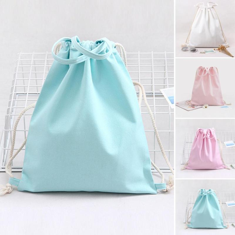 1 PC Pure Color Backpack Women Girls Shoulder Bag Canvas Beach Bag Small Mini Travel Storage Bag Beam Port Outdoor Gift 3