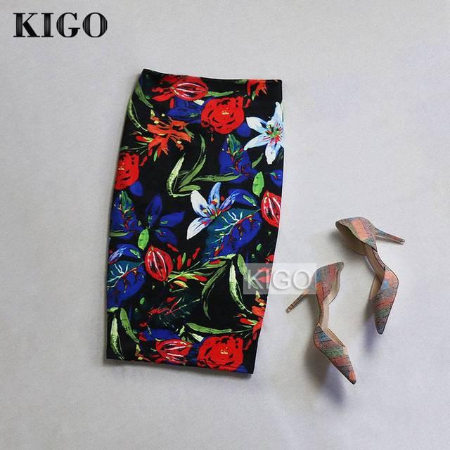 KIGO Летний Стиль Карандаш Юбки Женщины Высокой Талией Юбки Женская Старинные 2016 Элегантный Bodycon Цветочный Принт Юбка Миди K20
