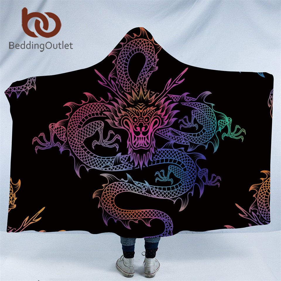 BeddingOutlet Dragon Totem Hooded Blanket for Adults Colorful Chinese Printed Sherpa Fleece Wearable Throw Blanket Microfiber