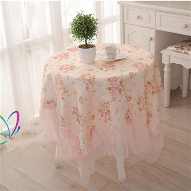 Table Cloth Country Style Flower Print Multifunctional Round/square Table  Cover Tablecloth With Lace Edge