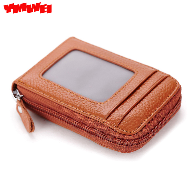 YMWEI True pickup package card sets of men's leather screens more zipper bag lady baotou layer cowhide card package free ship