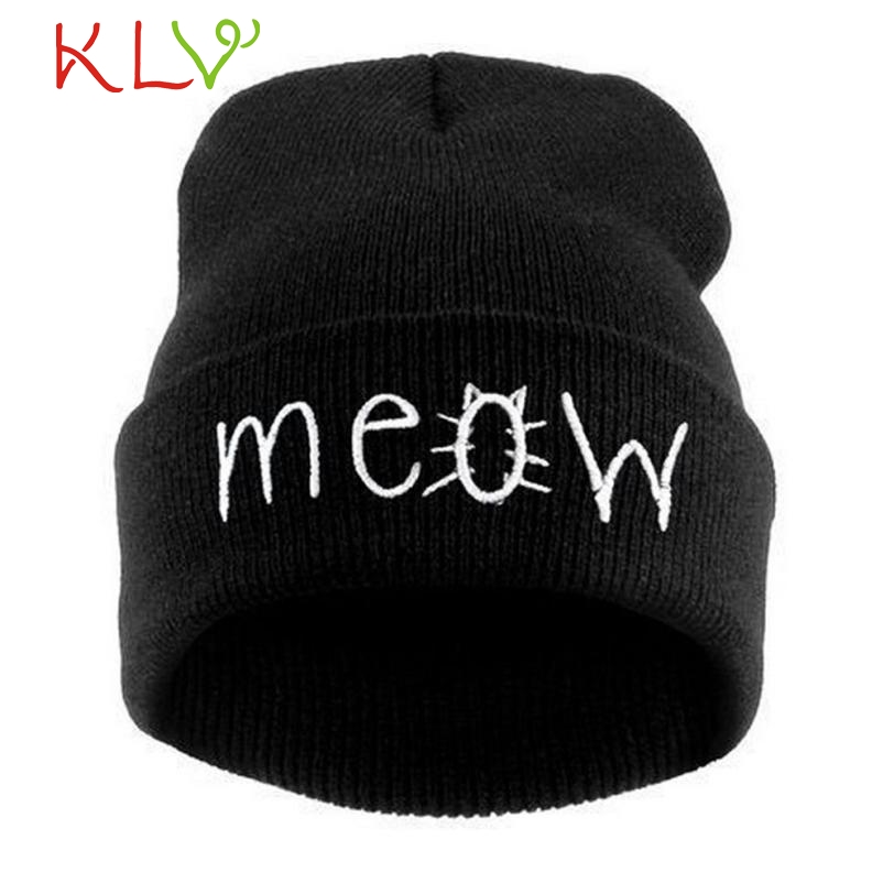 CharmDemon 2016 Winter Knitting MEOW Beanie Hat And Snapback Men And Women Hiphop Cap at5