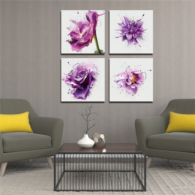 4Pcsset New Purple Flower Wall Art Painting Prints On Canvas Abstract Flower Veins Canvas Wall Painting Picture