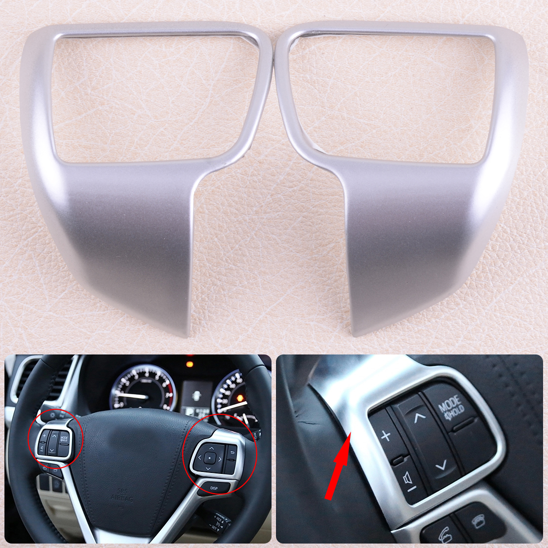 DWCX 2PCS ABS Plastic Chrome Steering Wheel Cover Garnish Molding Fit for Toyota Highlander 2014 2015 2016 2017