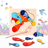 Wooden Magnetic Ocean Fishing Toy Game Jigsaw Puzzle Board Juguetes Fish Magnet Toy Educational Outdoor Fun for Child Gifts