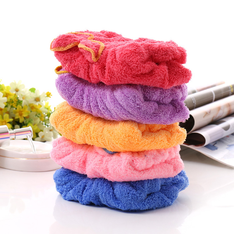 Coral Velvet Dry Hair Bath Towel Microfiber Quick Drying Turban Super Absorbent Women Hair Cap Wrap With Button Thicken