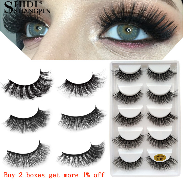 fb0675056ec 5 pairs false eyelashes 3d mink lashes