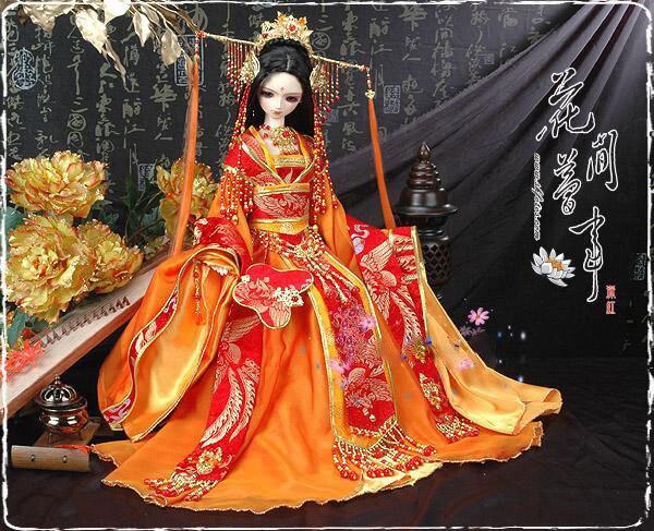 Hua Jian Meng Shi Orange Costume Tang Empress Ancient Chinese Hanfu Stage Clothing Sd Doll Tang Suit Hanfu Doll Free Shipping