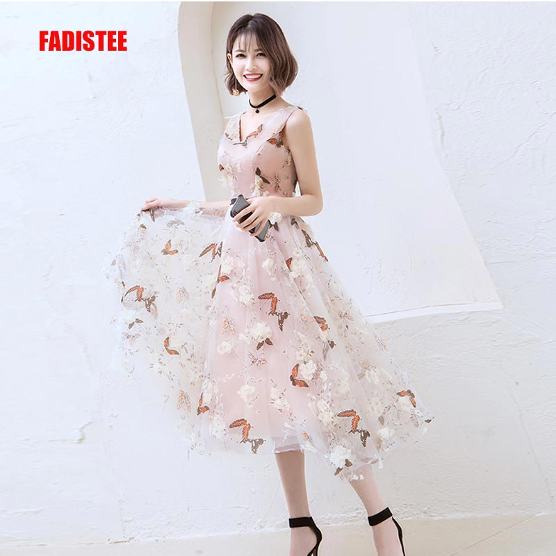 FADISTEE New arrival modern party dress evening dresses prom lace pattern A-line V-neck 3D-floral print elegant tea-length