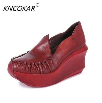 KNCOKAR   New style 2018 four seasons shoes slope heel genuine leather original manual garden height single shoe
