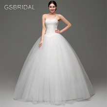 GSBRIDAL Puffy Strapless Lace Back Lace Up Bridal Wedding Gown