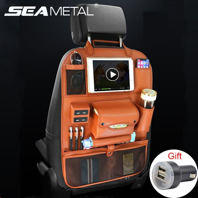 Assento de carro de Volta Saco Organizador Armazenamento Do Telefone Carregador 4USB Pu Couro Multifunções Viagem Bolso Estiva Tidying Acessórios Auto
