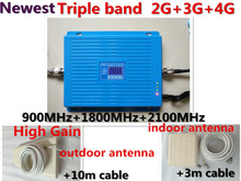 Triband repetidor TriBand repeater 2g 3g 4g LTE 900 1800 2100 MHz GSM DCS WCDMA mobile phone signal booster Celular amplifier