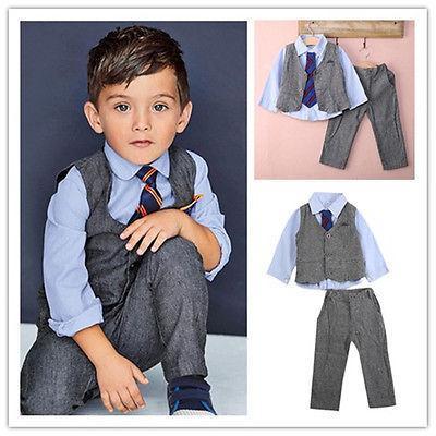 2016 new boys gentleman suit vest pants  tie set boy fashion suit for children kids clothes clothing 3Pcs sets retail
