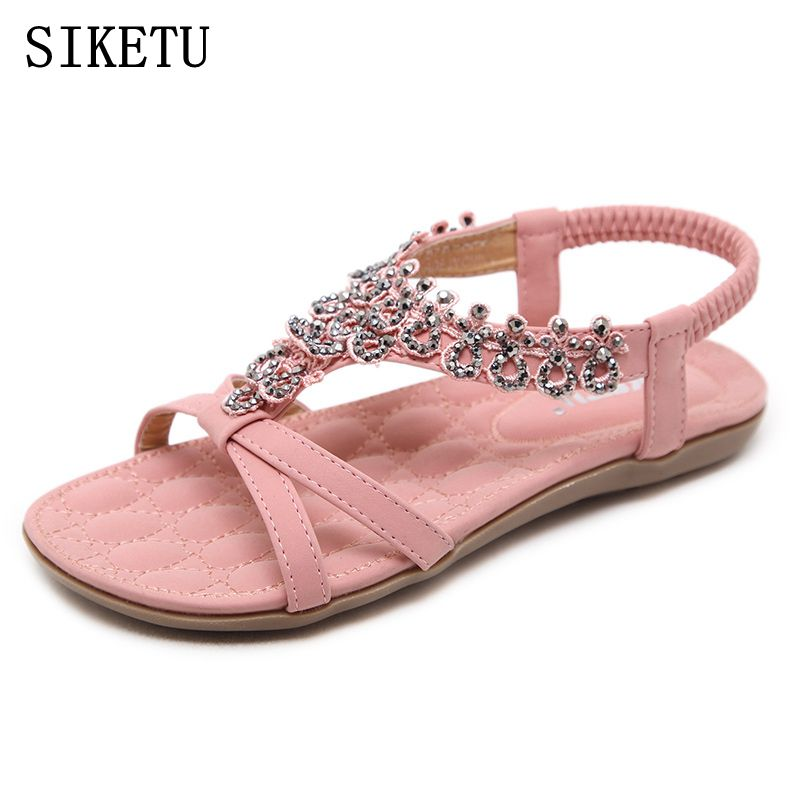 SIKETU 2018 Summer women sandals bohemia Soft bottom causal flip flops flat shoes Woman plus size fashion sandals ladies shoes women cork slipper flip flops sandals women mixed color bohemia thick bottom slides shoes open toe flat summer style plus size 8