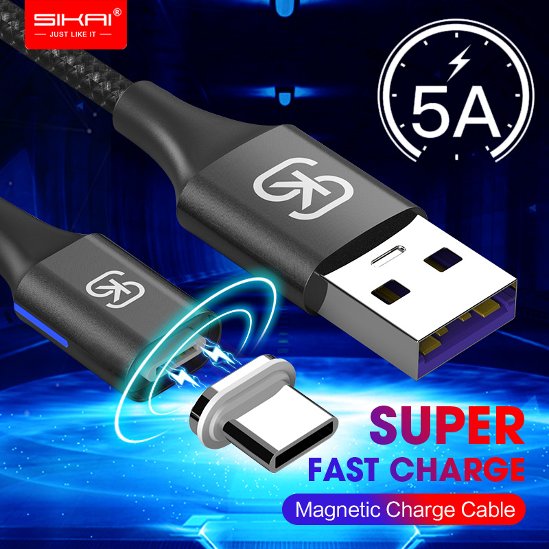 SIKAI 5A LED Magnetic <font><b>Cable</b></font> Micro USB Type C <font><b>Cable</b></font> For iPhone Samsung Huawei xiaomi oneplus <font><b>6</b></font> Magnet Fast Charging image