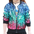 2-7 Age 2017 New Fashion Girls Childrens Casual Jackets Coats Colored Sequins Stitching Zipper All-match Hot Selling Coats Girl