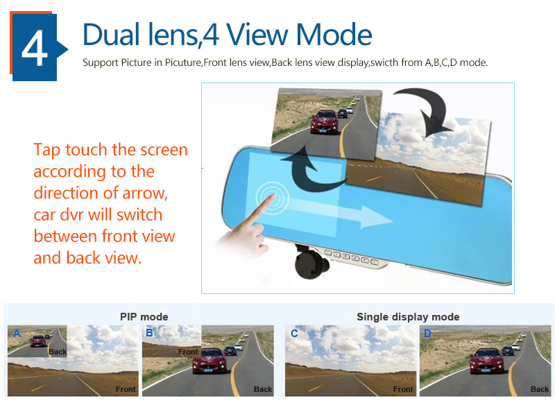 "5.0"" Touch Android 4.4 ROM Dual lens FHD1080P camera WiFi GPS parking car dvrs Rearview mirror video recorder Car DVR 5"