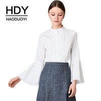 HDY Haoduoyi Brand 2019 Women Solid White Shirts Stand Collar Flare Sleeve Singal Buttons Female Elegant Blouses Lady Tops