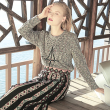 Spring Autumn Original Design Women Vintage&Retro Long-Sleeve Pullover National Wind Embroidery Indian Totem Pattern Sweater