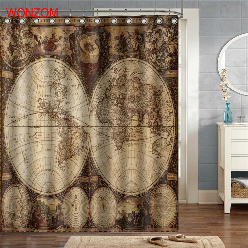WONZOM World Map Polyester Fabric Landscape Shower Curtain Bathroom Decor Waterproof Cortina De Bano With 12 Hooks Gift 2017