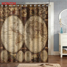 WONZOM World Map Polyester Fabric Landscape Shower Curtain Bathroom Decor Waterproof Cortina De Bano With 12 Hooks Gift 2017