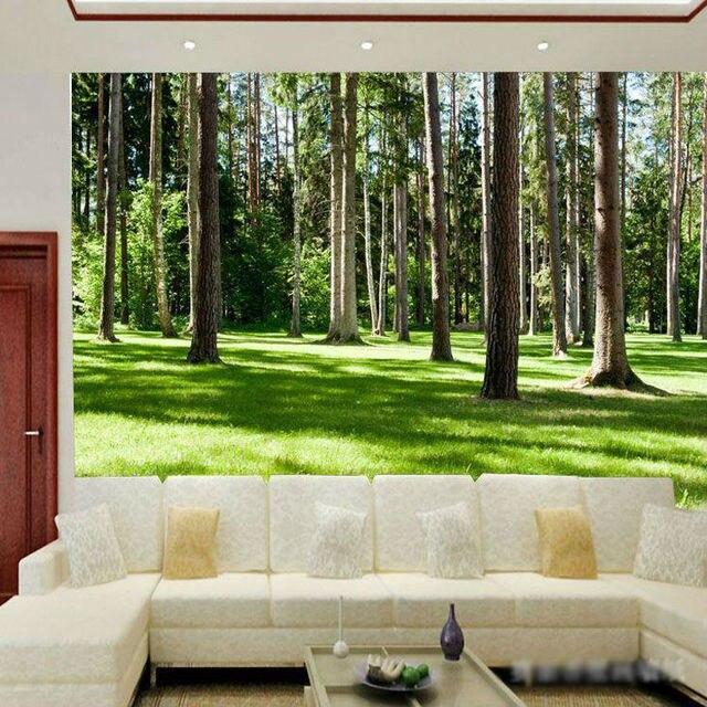 Las krajobraz drzewa fototapety tapety drewna naturalnego for Ego home interior