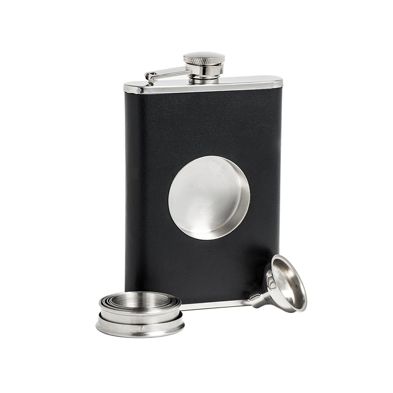 hot sale 8oz ounce Stainless steel 304 hip flask Whisky Moscow cccp Vodka flagon with pu leather Folding portable cup