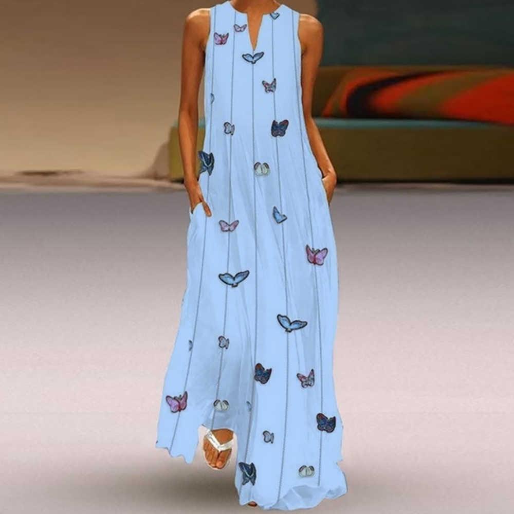 7e16b01ae9f86 CALOFE 2019 New Sleeveless Butterfly Dress Women Torridity Pockets Boho  Beach Maxi Dress Casual Loose V Neck Dress